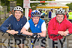 Kevin Walsh, Declan O'Donoghue and David O'Gorman Barradubh at start of the Ring of Kerry cycle in Killarney Saturday morning.
