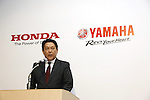 Honda Motor Operating Officer and Director Shinji Aoyama attends a joint press conference in Tokyo, Japan on October 5, 2016. Japanese auto majors Honda and Yamaha announced they have started talks toward a business tie-up in the development and production of small scooters. (Photo by Yosuke Tanaka/AFLO)