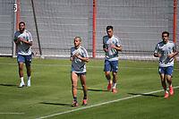 17th April 2020, Munich, Germany; Serge GNABRY (Bayern Munich),<br /> Thiago ALCANTARA (FCB),<br /> Leon DAJAKU (FCB),<br /> Sarpreet SINGH (Bayern Munich) Training during the Coronavirus epidemic