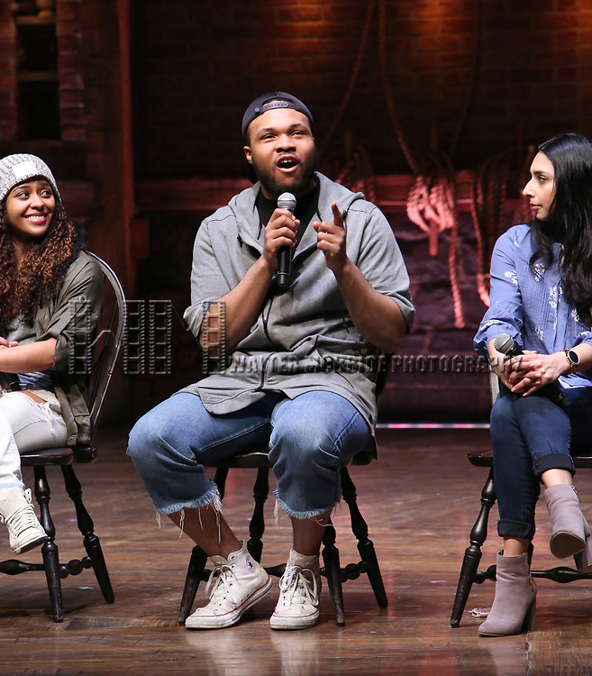 """Sasha Hollinger, Sean Green, Lauren Boyd Johnson during the  #EduHam matinee performance Q & A for """"Hamilton"""" at the Richard Rodgers Theatre on 3/28/2018 in New York City."""