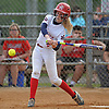 Ashley Budrewicz #4, MacArthur catcher, connects for a single during Game 2 of the Nassau County varsity softball Class A final against Island Trees at Mitchel Athletic Complex on Wednesday, May 24, 2017.