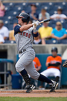 Brent Clevlen #24 of the Toledo Mudhens follows through on a 2-run home run in the first inning at Harbor Park June 7, 2009 in Norfolk, Virginia. (Photo by Brian Westerholt / Four Seam Images)