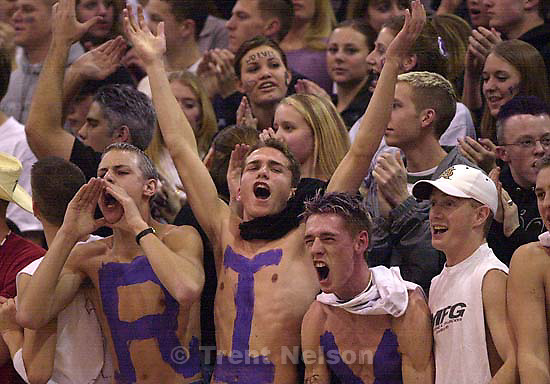 Riverton fans. Bingham defeats Riverton, basketball.<br />