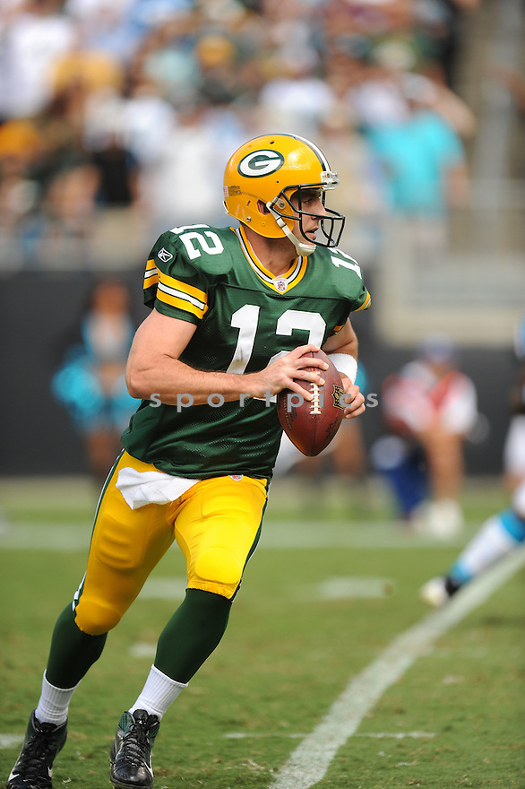 AARON RODGERS, of the Green Bay Packers, in action during the Packers game against the Carolina Panthers on September 18, 2011 at Bank of America Stadium in Charlotte, NC. The Packers beat the Panthers 30-23.