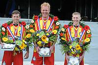 KAATSEN: FRANEKER: 25-05-2015, Chris Wassenaar, Minnertsgea met Hylke Bruinsma en Hendrik Kootstra winnaar van de Bondspartij, ©foto Martin de Jong