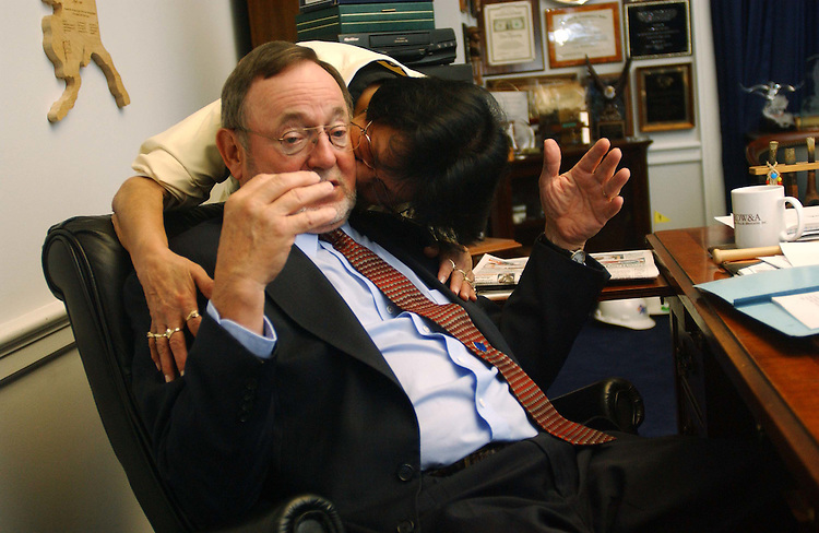 10/08/04.YOUNG--House Transportation Chairman Don Young, R-Alaska, gets a kiss from wife, Lula, during an interview in his office..CONGRESSIONAL QUARTERLY PHOTO BY SCOTT J. FERRELL