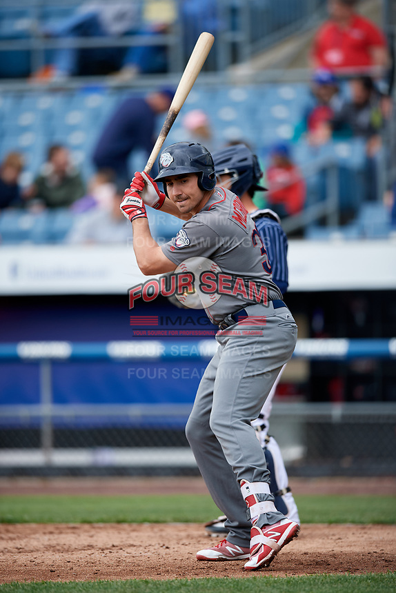 Lehigh Valley IronPigs pinch hitter Matt McBride (30) at bat during a game against the Syracuse Chiefs on May 20, 2018 at NBT Bank Stadium in Syracuse, New York.  Lehigh Valley defeated Syracuse 5-2.  (Mike Janes/Four Seam Images)