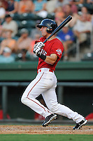 Left fielder Zach Kapstein (40) of the Greenville Drive bats in a game against the Asheville Tourists on Tuesday, July 1, 2014, at Fluor Field at the West End in Greenville, South Carolina. Asheville won, 5-2. (Tom Priddy/Four Seam Images)