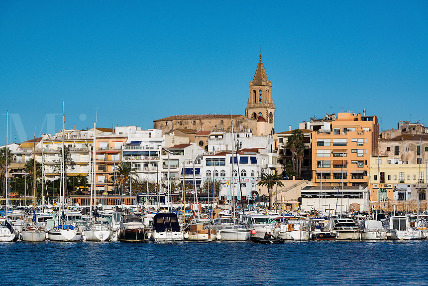 Overview of the harbor of Palamos, Spain
