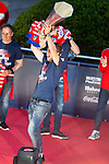 Atletico de Madrid Gabi Fernandez celebrating Europa League Championship at Neptune Fountain in Madrid, Spain. May 18, 2018. (ALTERPHOTOS/Borja B.Hojas)