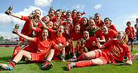 20180526 - Eupen , BELGIUM : Standard's players celebrate after winning  the final of Belgian cup 2018 , a soccer women game between KRC Genk Ladies and Standard Femina de Liege  , in the  Kehrweg stadion in Eupen , saturday 26 th May 2018 . PHOTO SPORTPIX.BE | DAVID CATRY