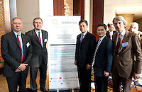 L-R: Paris Europlace Chief Executive Arnaud de Bresson, GDF Suez CEO and Paris Europlace Chairman Gerard Mestrallet, Vice Mayor of Shanghai Tu Guangshao, Shanghai Municipal Government Financial Services Director-General Fang Xinghai, French Consul General in Shanghai Emmanuel Le Nain, at Shanghai / Paris Europlace Financial Forum, in Shanghai, China, on December 1, 2010. Photo by Lucas Schifres/Pictobank