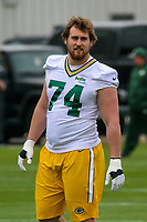 Green Bay Packers guard Geoff Gray (74) during an Organized Team Activity on May 23, 2017 at Clarke Hinkle Field in Green Bay, Wisconsin.  (Brad Krause/Krause Sports Photography)