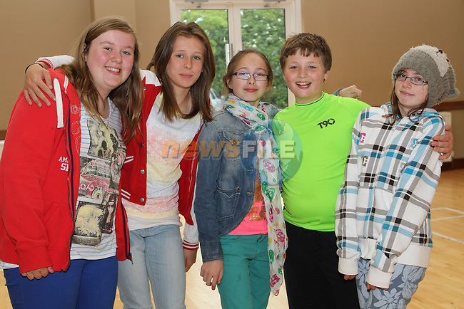 Anna Brennan, Caoimhe Judge, Ellie Kevitt Murphy, Feargal Moore and Jennifer O'Connor at the Cross Community Event for school children in St.Peters Church of Ireland Hall....Photo NEWSFILE/Jenny Matthews.