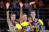October 20, 2001; Madrid, Spain:  (L-R) IRINA TCHACHINA, ALINA KABAEVA of Russia and TAMARA YEROFEEVA of Ukraine celebrate All Around medals at 2001 World Championships at Madrid. <br /> (Note: Because of doping control positive tests afterward, FIG awarded the gold medal to Tamara Yerofeeva. Irina and Alina were disqualified.)