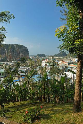 Asia, Vietnam, near Da Nang. Walking up the famous Ngu Hanh Son or Marble Mountains.
