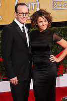 LOS ANGELES, CA - JANUARY 18: Clark Gregg, Jennifer Grey at the 20th Annual Screen Actors Guild Awards held at The Shrine Auditorium on January 18, 2014 in Los Angeles, California. (Photo by Xavier Collin/Celebrity Monitor)