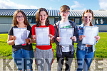 Kate Waldron (9A's Spa), Isabelle Keane (8A's Listowel), Kieran Collins (8A's Tralee) and Keela Hughes 9A's Tralee) with their Junior Cert results in Mercy Mounthawk on Wednesday morning.