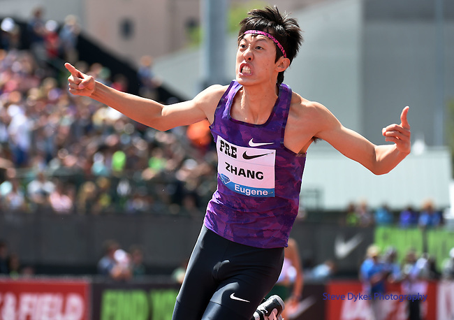 Guowei Zhang of China celebrates after clearing the bar in the Men's High Jump on the final day of the Prefontaine Classic at Hayward Field in Eugene, Oregon, USA, 30 MAY 2015. Zhang finished second in the event. (EPA photo by Steve Dykes)