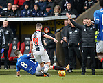 03.11.2018: St Mirren v Rangers: Ryan Jack wins the ball from Danny Mullen and gets booked