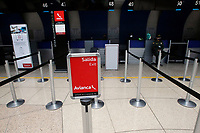 RIONEGRO, COLOMBIA - MAY 12: The Avianca airline counter is see empty at the José María Córdoba International Airport on May 12, 2020 in Rionegro. Avianca filed for bankruptcy in the United States on May 11, 2020 to reorganize its debt due to the impact of the coronavirus pandemic. (Photo by Fredy Builes / VIEWpress via Getty Images)