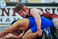 24 January 2008: Jake Johnson defeats Ernesto Ancona (blue) during Stanford's 22-16 win over Cal State Bakersfield at the Ford Center in Stanford, CA.