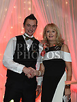Mariea Huston presents the best dressed gent award to Tom Grimes at the Drogheda Independent Sports Star Awards in the Westcourt Hotel.  Photo:Colin Bell/pressphotos.ie