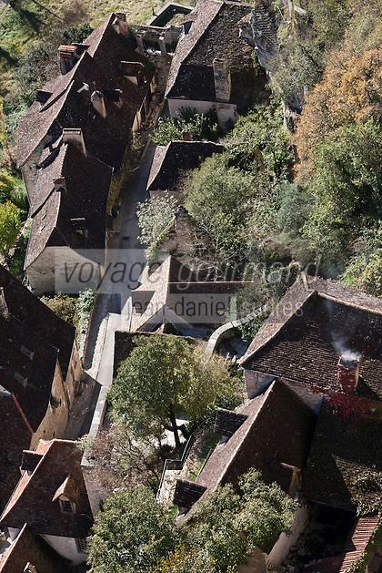 Europe/Europe/France/Midi-Pyrénées/46/Lot/Rocamadour: Depuis le Château vu sur les toits des maisons du village