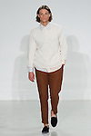 Model walks runway in a Japanese Terry Henley, versailles wallpaper BD and rust linen Hollywood trouser, from the Palmiers du Mal Spring Summer 2017 collection by Brandon Capps and Shane Fonner, at Skylight Clarkson Square on July 14 2016, during New York Fashion Week Men's Spring Summer 2017.