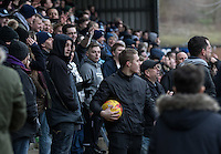 A member of the crowd keeps hold of the ball late on during the Sky Bet League 2 match between Wycombe Wanderers and Bristol Rovers at Adams Park, High Wycombe, England on 27 February 2016. Photo by Kevin Prescod.