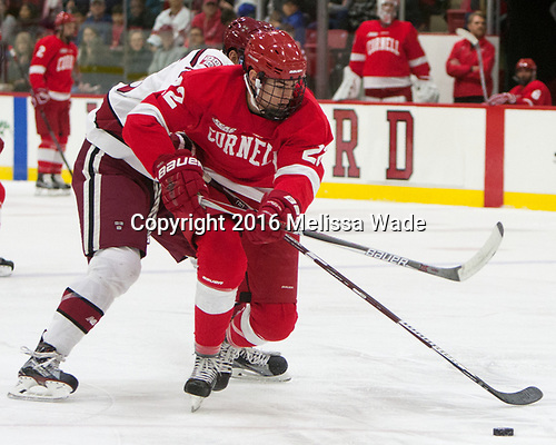 Jeff Malott (Cornell - 22) - The Harvard University Crimson defeated the visiting Cornell University Big Red on Saturday, November 5, 2016, at the Bright-Landry Hockey Center in Boston, Massachusetts.