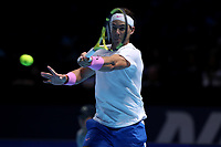 15th November 2019; 02 Arena. London, England; Nitto ATP Tennis Finals; Rafael Nadal (Spain) with a forehand return to Stefanos Tsitsipas (Greece) - Editorial Use