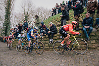 Greg VAN AVERMAET (BEL/CCC) charging up the infamous Kapelmuur<br /> <br /> 74th Omloop Het Nieuwsblad 2019 <br /> Gent to Ninove (BEL): 200km<br /> <br /> ©kramon