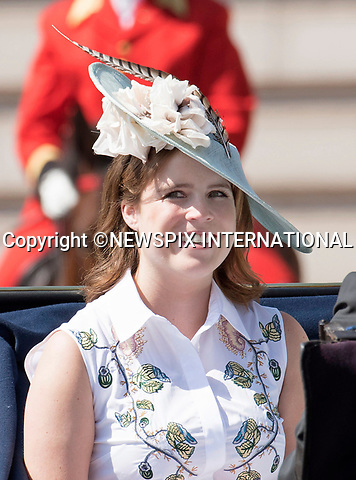 17.06.2017; London, UK: PRINCESS EUGENIE<br /> joined other members of the royal family for the Trooping The Colour to celebrate the Queen&rsquo;s 91st Official Birthday<br /> Royals present included the Duke of Edinburgh, Prince Charles and Camilla, Duchess of Cornwall, Prince William, Kate Middleton, Prince George; Princess Charlotte; Prince Harry, Prince Andrew; Princess Beatrice, Princess Eugenie, Prince Edward, Princess Anne, Zara Phillips &amp; Mike Tindal, Prince and Princess Michael Of Kent, Lady Helen Taylor, Duke of Kent, Duke of Gloucester and Duchess of Gloucester,Peter Phillips and Autumn and Lady Amelia Windsor.<br /> Mandatory Credit Photo: &copy;Joe Dias/NEWSPIX INTERNATIONAL<br /> <br /> IMMEDIATE CONFIRMATION OF USAGE REQUIRED:<br /> Newspix International, 31 Chinnery Hill, Bishop's Stortford, ENGLAND CM23 3PS<br /> Tel:+441279 324672  ; Fax: +441279656877<br /> Mobile:  07775681153<br /> e-mail: info@newspixinternational.co.uk<br /> Usage Implies Acceptance of OUr Terms &amp; Conditions<br /> Please refer to usage terms. All Fees Payable To Newspix International
