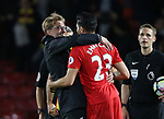 Liverpool's Jurgen Klopp celebrates at the final whistle with Emre Can during the Premier League match at Vicarage Road Stadium, London. Picture date: May 1st, 2017. Pic credit should read: David Klein/Sportimage