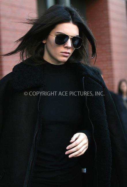 WWW.ACEPIXS.COM<br /> <br /> November 8 2015, New York City<br /> <br /> Model Kendall Jenner left her Soho apartment on November 8 2015 in New York City<br /> <br /> By Line: Nancy Rivera/ACE Pictures<br /> <br /> <br /> ACE Pictures, Inc.<br /> tel: 646 769 0430<br /> Email: info@acepixs.com<br /> www.acepixs.com