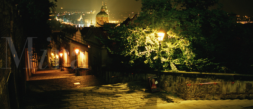 The old castle steps at night. Prague, Czech Republic.
