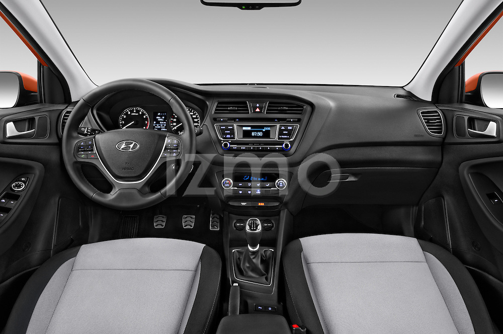Stock photo of straight dashboard view of 2016 Hyundai i20 ACTIVE Pop 5 Door Hatchback Dashboard