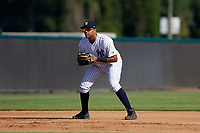 New York Yankees third baseman Dermis Garcia (49) during an Instructional League game against the Baltimore Orioles on September 23, 2017 at the Yankees Minor League Complex in Tampa, Florida.  (Mike Janes/Four Seam Images)