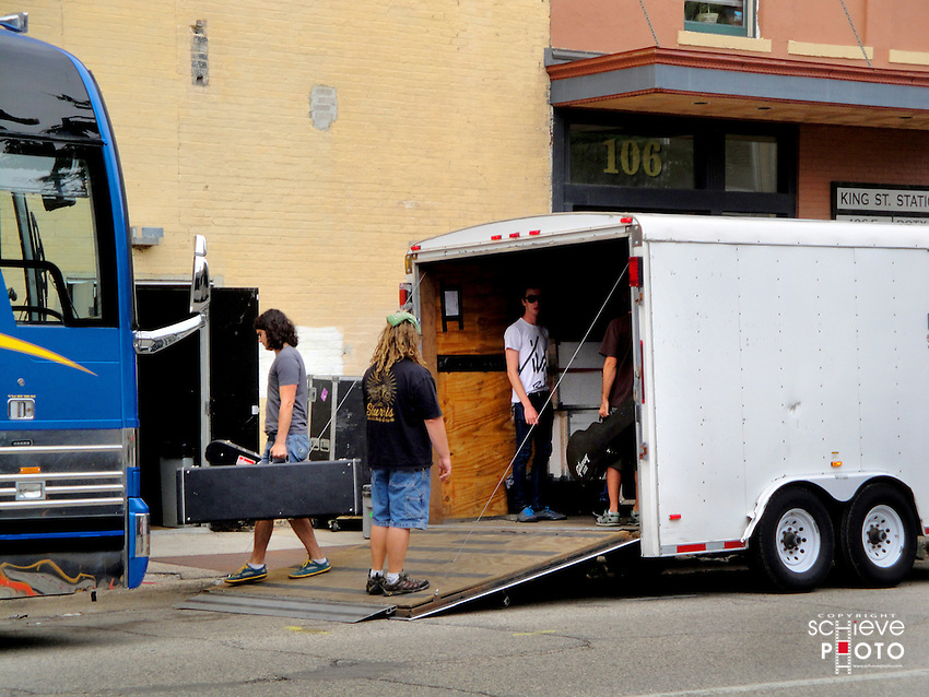 Roadies for Secondhand Serenade load equipment into the Majestic Theater in Madison, Wisconsin.