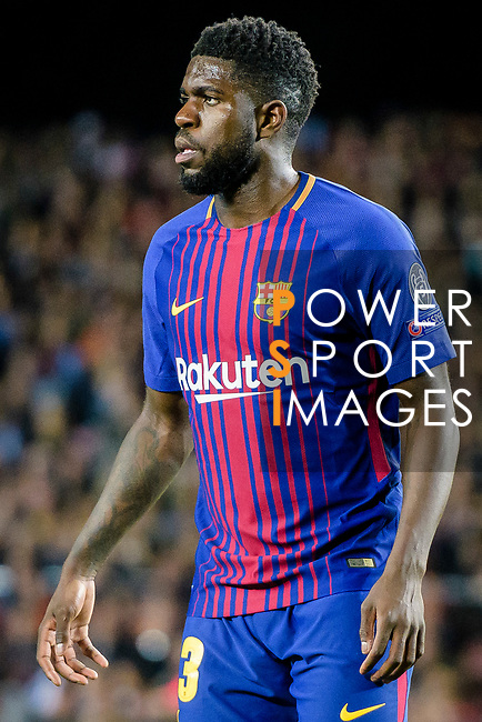 Samuel Umtiti of FC Barcelona reacts during the UEFA Champions League 2017-18 quarter-finals (1st leg) match between FC Barcelona and AS Roma at Camp Nou on 05 April 2018 in Barcelona, Spain. Photo by Vicens Gimenez / Power Sport Images