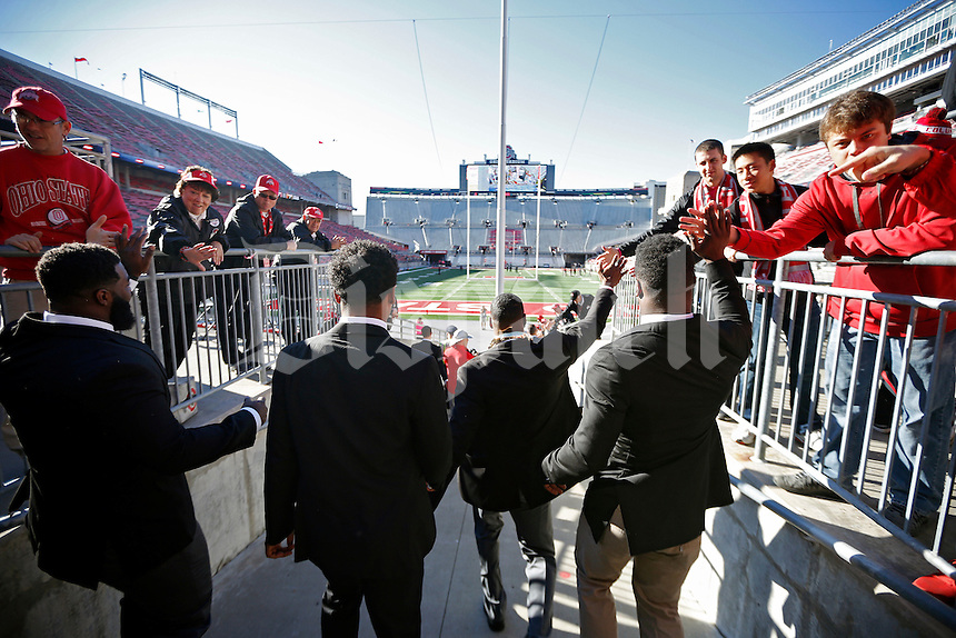Ohio State Buckeyes arrive in Ohio Stadium for their game against Maryland Terrapins on October 10, 2015.  (Dispatch photo by Kyle Robertson)