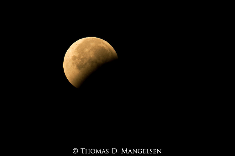The beginning stages of a lunar eclipse in Wyoming.