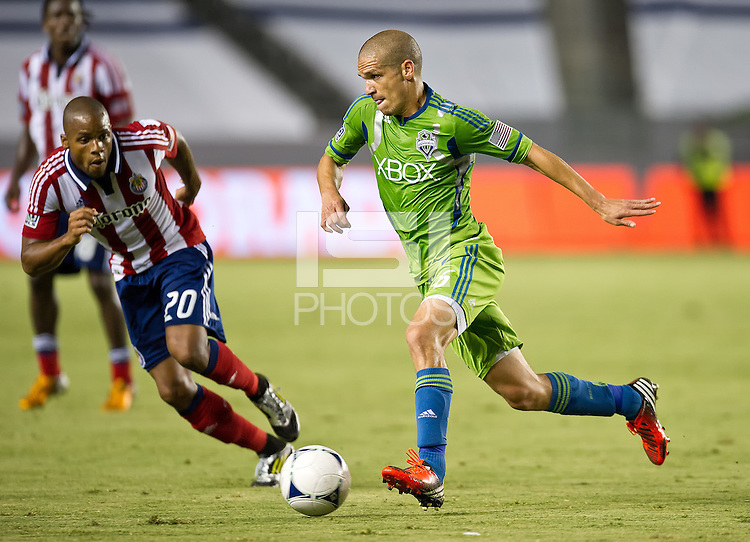 CARSON, CA - August 25, 2012: Seattle midfielder Osvaldo Alonso (6) Chivas USA vs Seattle Sounders match at the Home Depot Center in Carson, California. Final score, Chivas USA 2, Seattle Sounders 6.