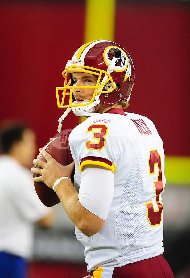 Sept. 2, 2010; Glendale, AZ, USA; Washington Redskins quarterback John Beck (3) against the Arizona Cardinals at University of Phoenix Stadium. Mandatory Credit: Mark J. Rebilas-