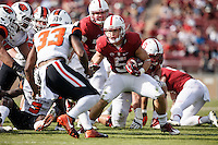 Stanford, CA - November 5, 2016: Christian McCaffrey and Jesse Burkett during  the Stanford vs Oregon State game at Stanford Stadium Saturday. <br /> <br /> Stanford won 26-15.
