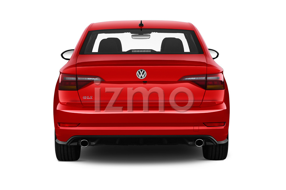 Straight rear view of a 2019 Volkswagen Jetta GLI-S 4 Door Sedan stock images