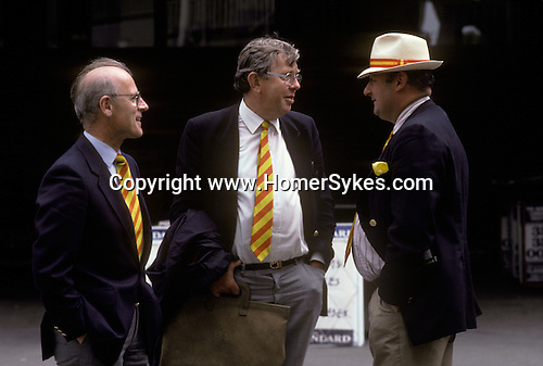 Cricket at Lords London. Members of the MCC with their distinctive egg and tomato ties.  The English Season published by Pavilon Books 1987