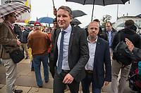 """AfD-Kundgebung in Potsdam.<br /> Ca. 70 AfD-Anhaenger kamen am Samstag den 9. September 2017 zu einer Wahlveranstaltung der rechtsnationalistischen """"Alternative fuer Deutschland"""", AfD. Unter den Teilnehmern waren u.a. Neonazis die """"Patrioten Cottbus"""" oder die sog. """"Schwarze Sonne"""", ein Zeichen der SS auf ihren Jacken trugen. Offiziell hatte die AfD die Kundgebung als Gruendung einer rechten Gewerkschaft namens """"Alternativer Arbeitnehmerverband Mitteldeutschland"""" (Alarm) in Brandenburg deklariert.<br /> 500 Menschen protestierten friedlich gegen die Veranstaltung.<br /> Im Bild: Bjoern Hoecke, AfD-Fraktionsvorsitzender im Thueringer Landtag und Andreas Kalbitz, Landesvorsitzender der AfD-Brandenburg.<br /> 9.9.2017, Potsdam<br /> Copyright: Christian-Ditsch.de<br /> [Inhaltsveraendernde Manipulation des Fotos nur nach ausdruecklicher Genehmigung des Fotografen. Vereinbarungen ueber Abtretung von Persoenlichkeitsrechten/Model Release der abgebildeten Person/Personen liegen nicht vor. NO MODEL RELEASE! Nur fuer Redaktionelle Zwecke. Don't publish without copyright Christian-Ditsch.de, Veroeffentlichung nur mit Fotografennennung, sowie gegen Honorar, MwSt. und Beleg. Konto: I N G - D i B a, IBAN DE58500105175400192269, BIC INGDDEFFXXX, Kontakt: post@christian-ditsch.de<br /> Bei der Bearbeitung der Dateiinformationen darf die Urheberkennzeichnung in den EXIF- und  IPTC-Daten nicht entfernt werden, diese sind in digitalen Medien nach §95c UrhG rechtlich geschuetzt. Der Urhebervermerk wird gemaess §13 UrhG verlangt.]"""