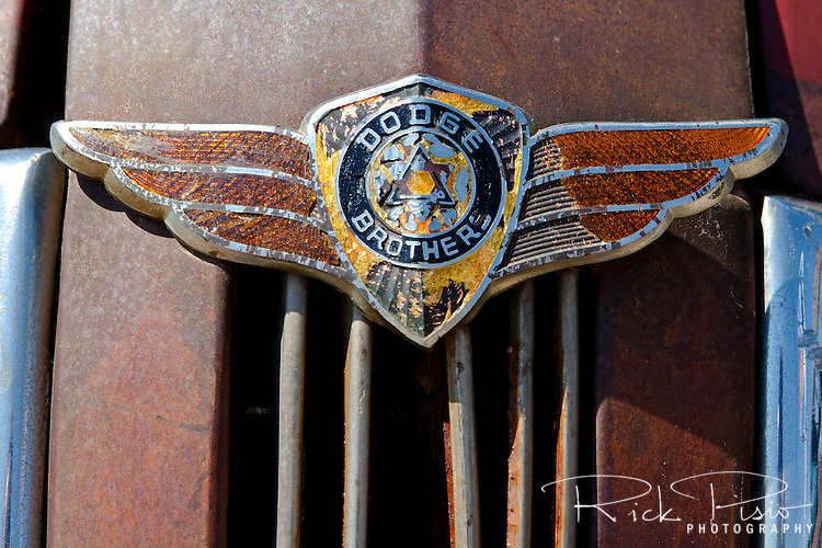 Hood emblem on a 1937 Dodge in Malta, Montana.